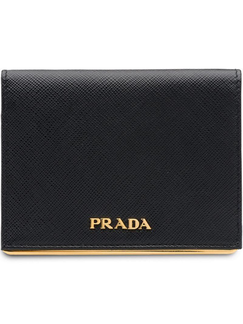 60963a1f37bf Prada - Black Small Logo Wallet - Lyst. View fullscreen