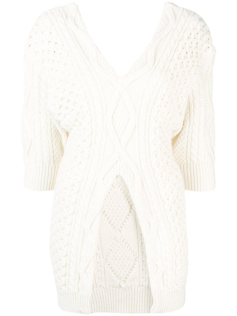 Lyst - 3.1 Phillip Lim Cable Knit Jumper in White - Save 64% 0b5dce7aa