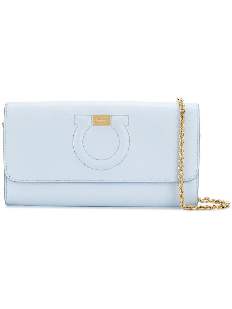 b769c58f14 Lyst - Ferragamo Mini Gancio Clutch Bag in Blue