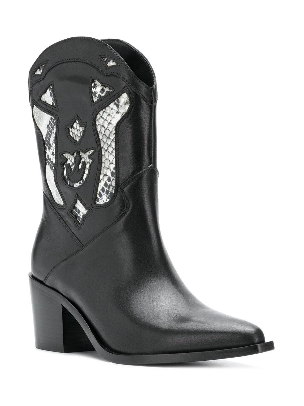 Pinko Leather Cowgirl Ankle Boots in Black