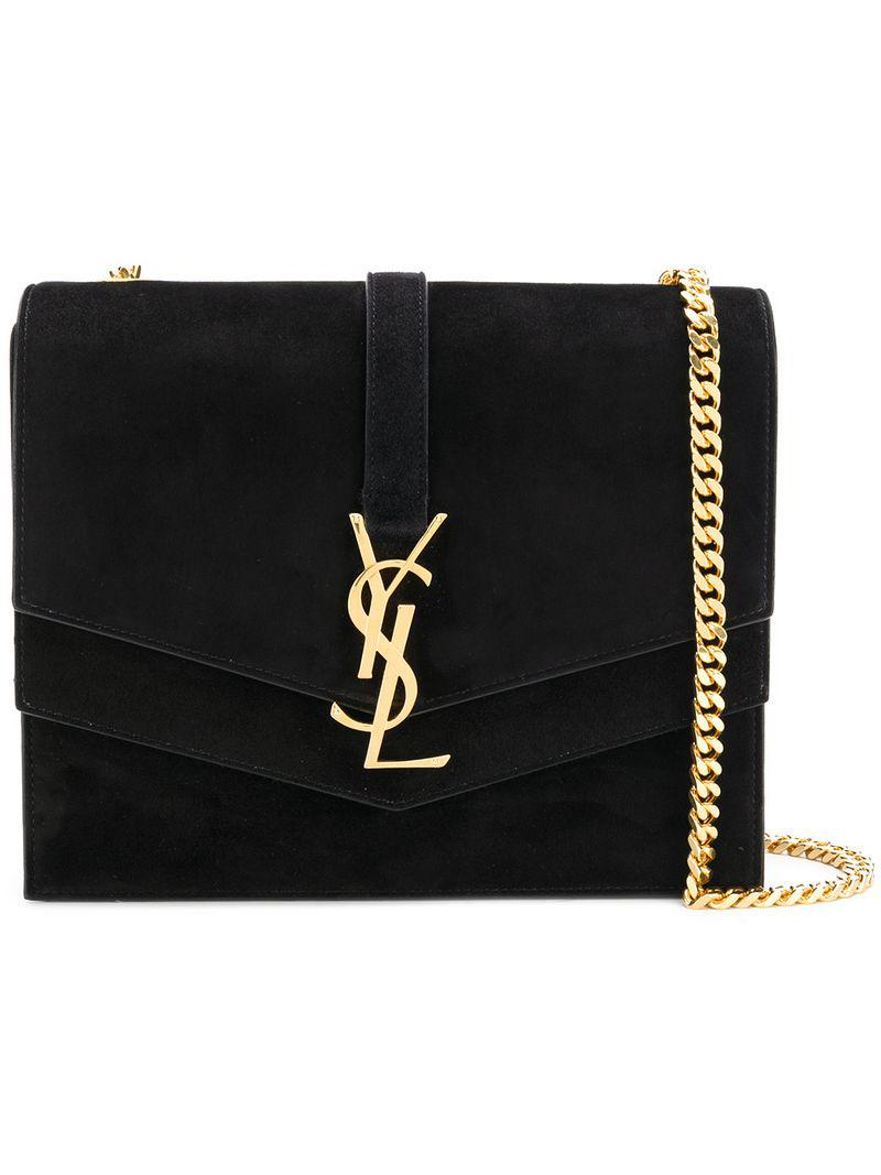 472f918ee6 Saint Laurent Monogrammed Suede Satchel in Black - Lyst