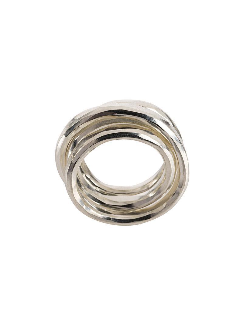Werkstatt München multi band hammered ring - Metallic 6PdE5