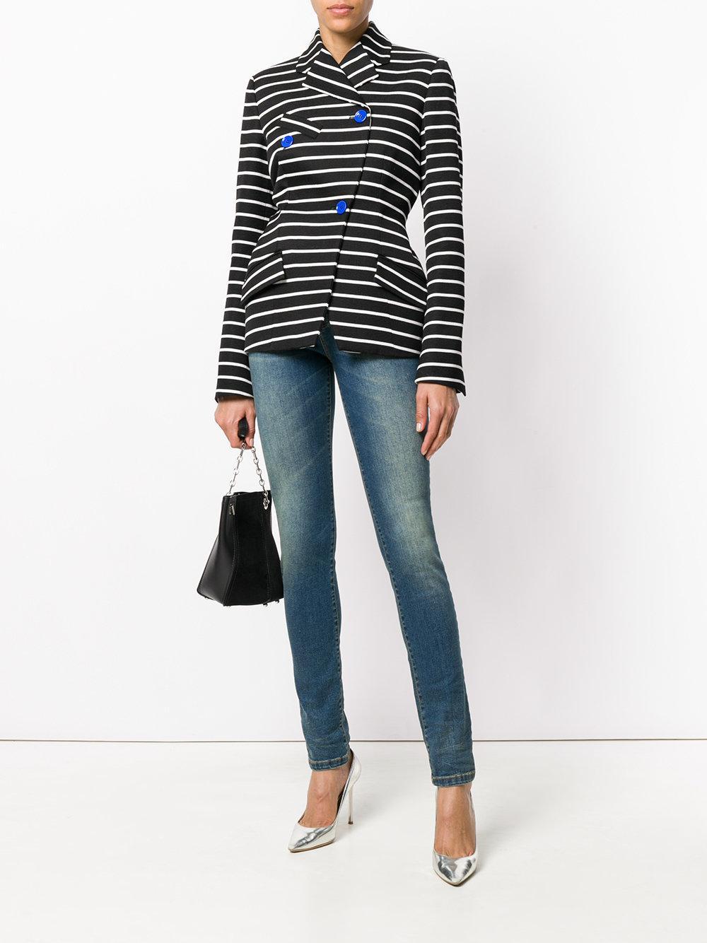 Versace Denim Embellished V Jeans in Blue