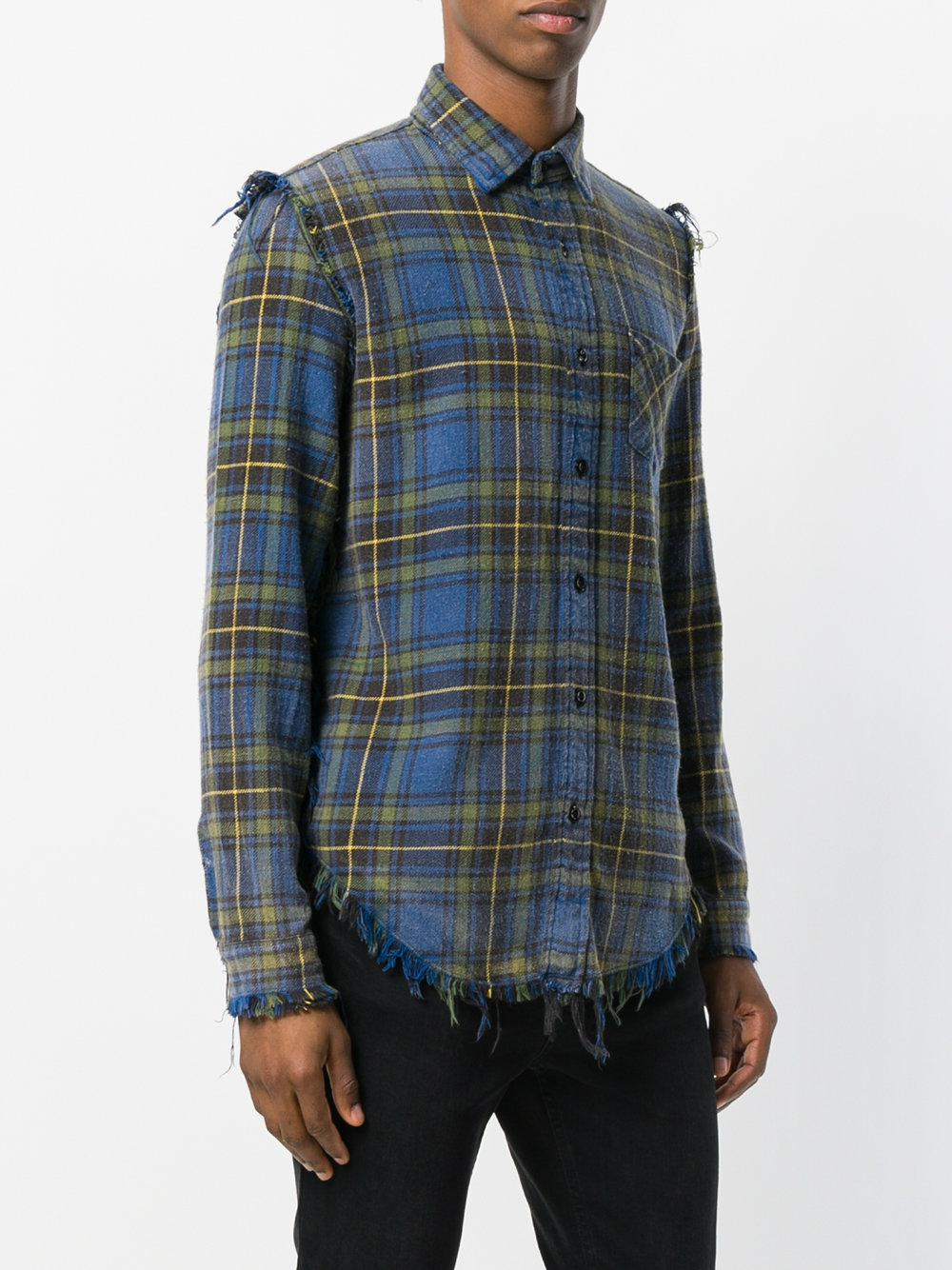 R13 Cotton Distressed Plaid Shirt in Blue for Men