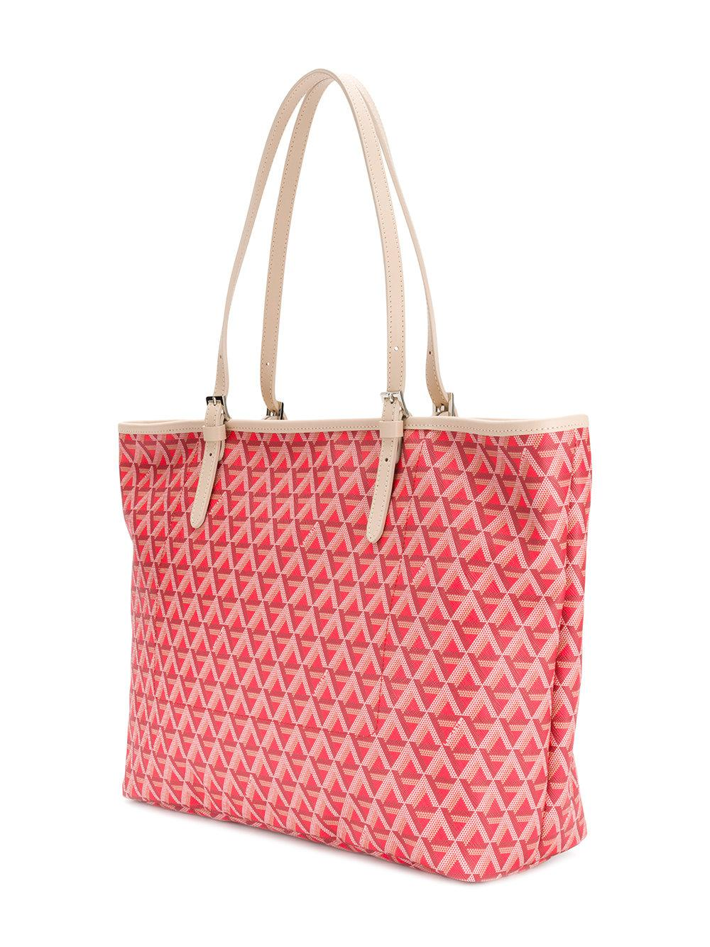 Lancaster Leather Geometric Pattern Tote in Red