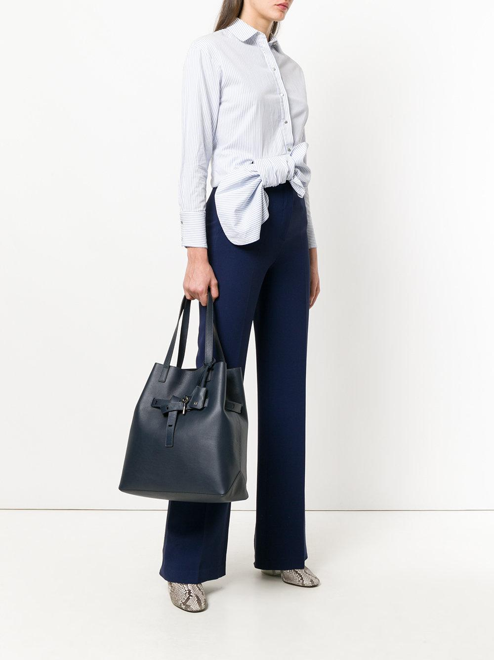 Tila March Leather Lea Tote Bag in Blue