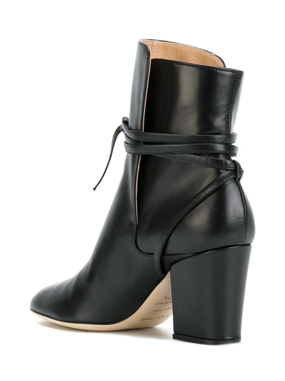 Sergio Rossi Leather Ankle Boots With Tie in Black