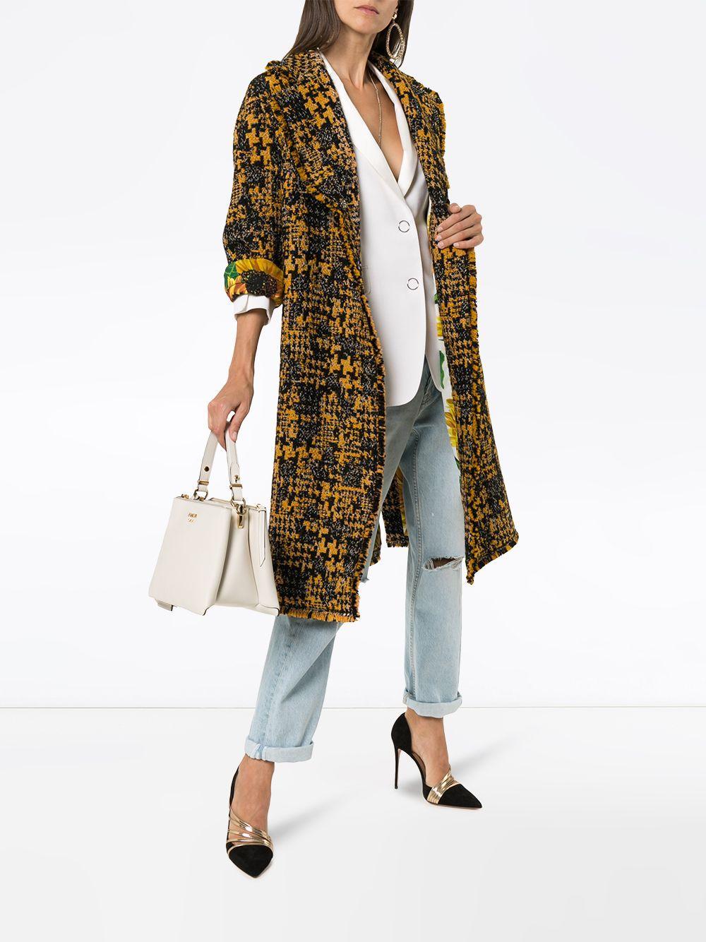 Manteau droit en tweed Dolce & Gabbana en coloris Noir