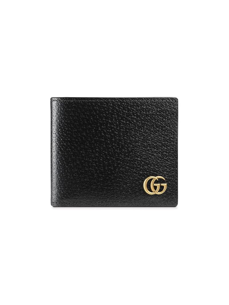 ee896b0555d66e Gucci GG Marmont Leather Bi-fold Wallet in Black for Men - Save 28 ...