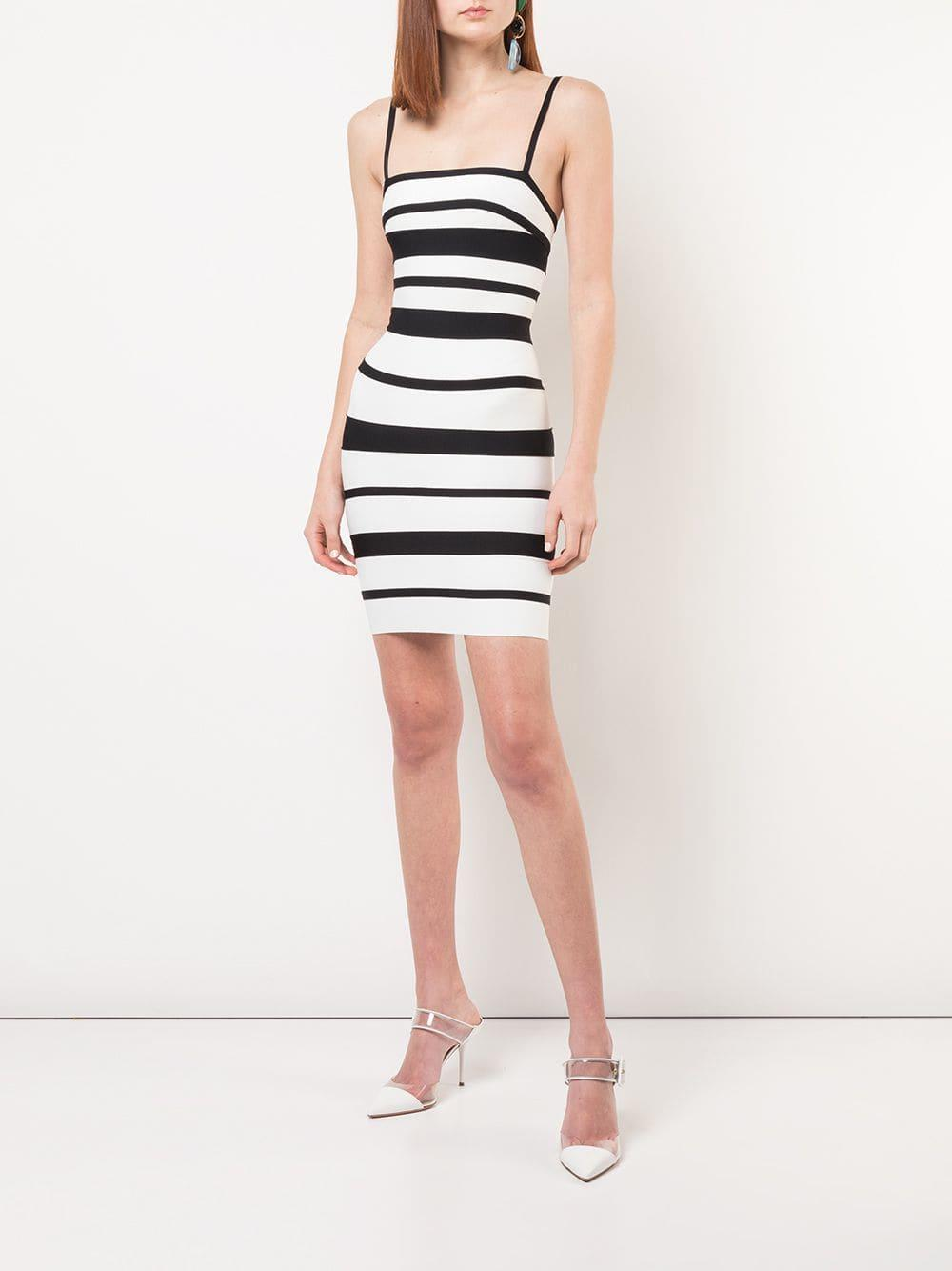 2dcaaba89bd5 Lyst - Hervé Léger Striped Strappy Mini Dress in White