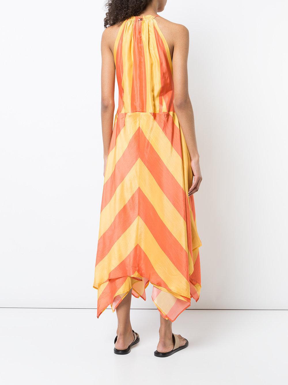 Striped Apiece Apart Orange In Lyst Halterneck Dress 0mNwv8nO