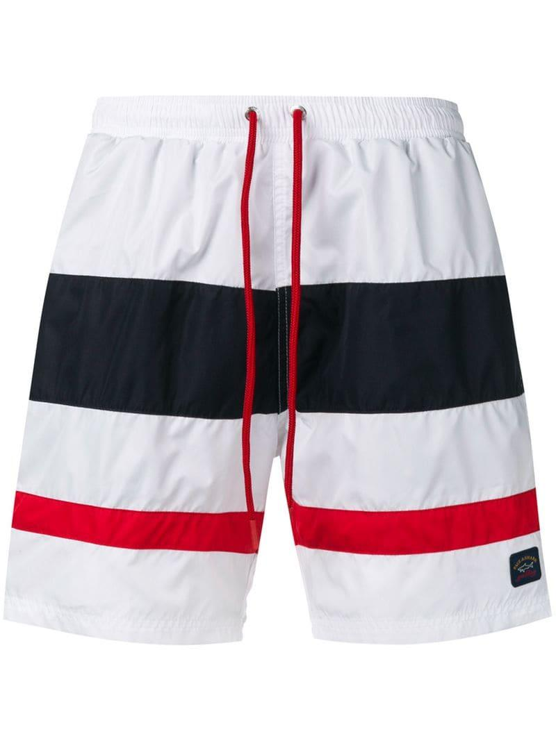 1970df6b59 Paul & Shark Striped Swim Shorts in White for Men - Lyst
