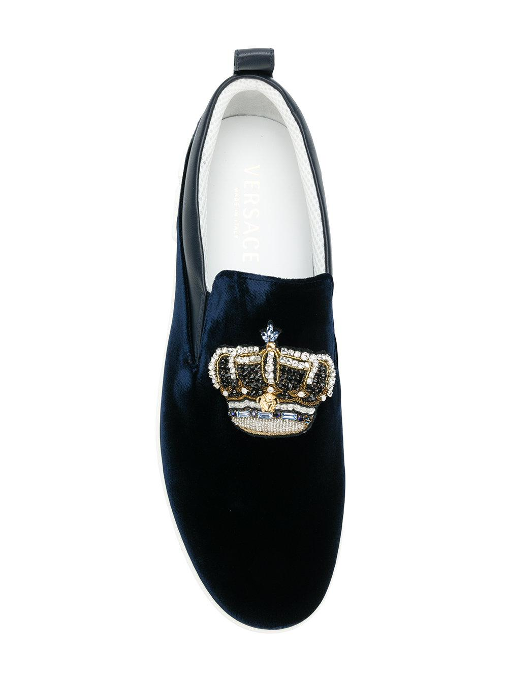 Versace Leather Crown Embroidered Sneakers in Blue