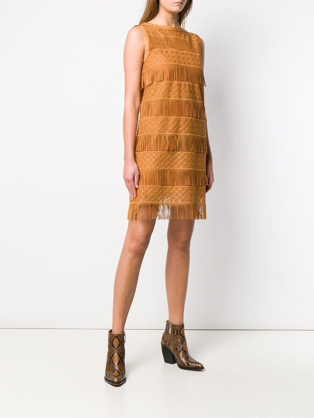 Vestido tubo con flecos Alberta Ferretti de Tejido sintético de color Marrón