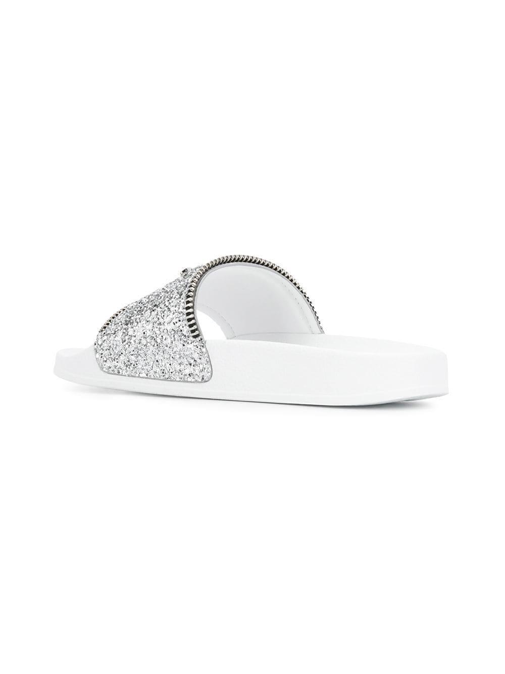 81e9698bd Giuseppe Zanotti - Metallic Silver Glitter Blytter Slides - Lyst. View  fullscreen