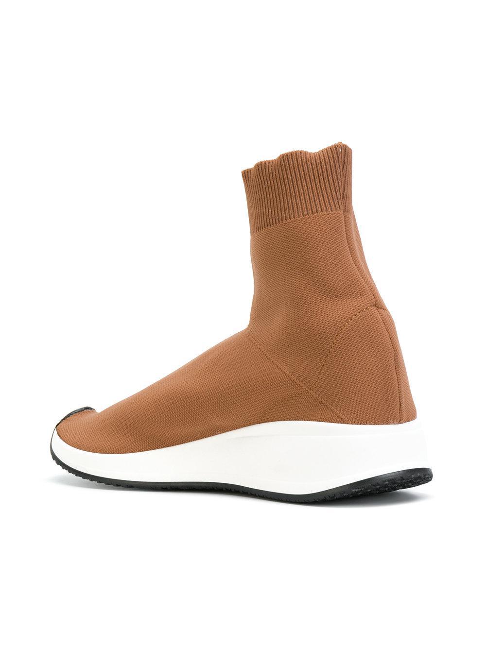 Joshua Sanders Leather Sock Detail Sneakers in Brown