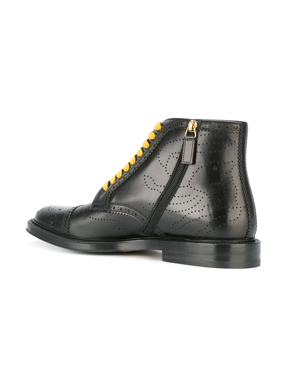 Gucci Contrast Lace Boots In Black For Men Lyst