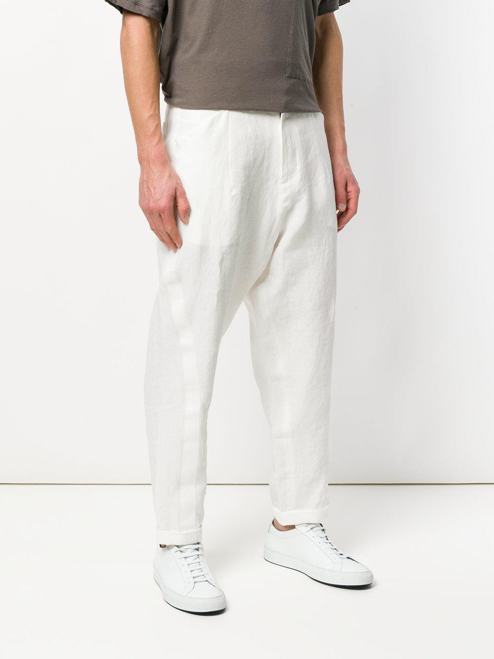 Isabel Benenato Linen Straight Trousers in White for Men