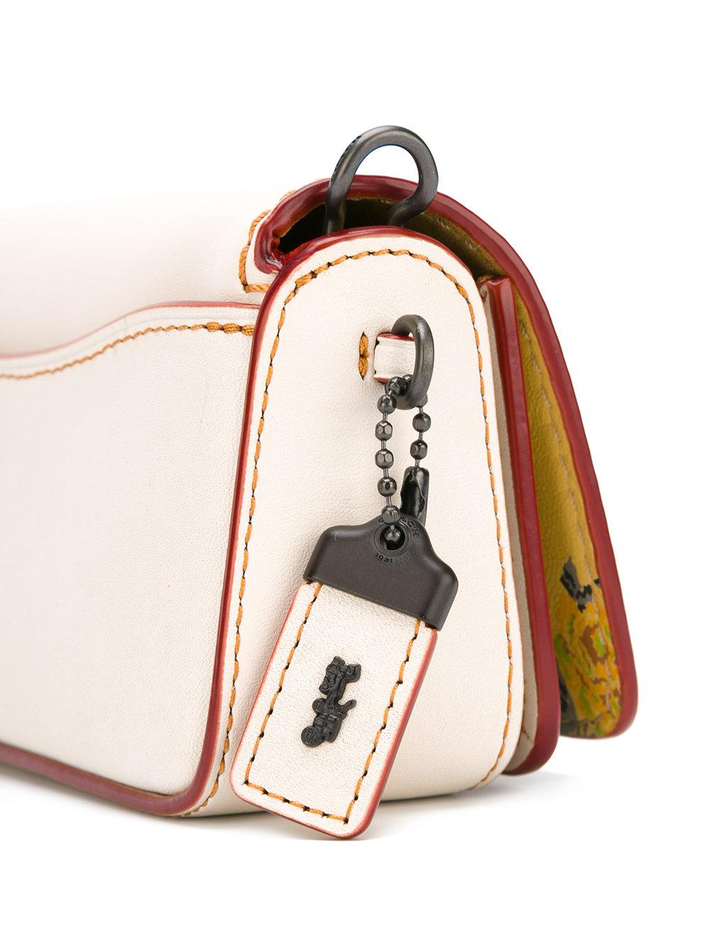 COACH Leather Chain Crossbody Bag in White