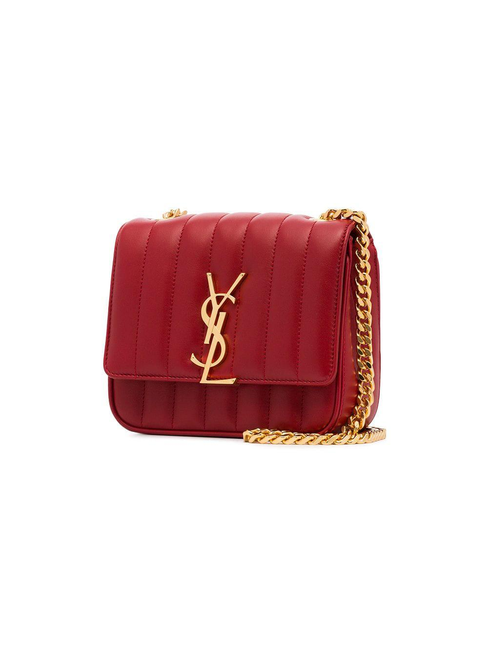d3a98403d5 Saint Laurent - Red Vicky Small Quilted Leather Bag - Lyst. View fullscreen