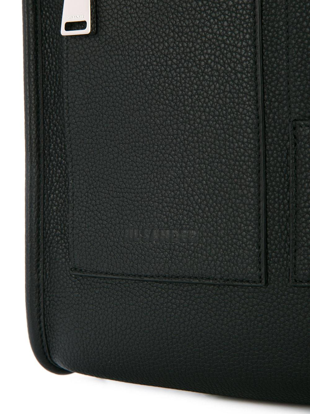 Jil Sander Leather Square Zip Backpack in Black for Men