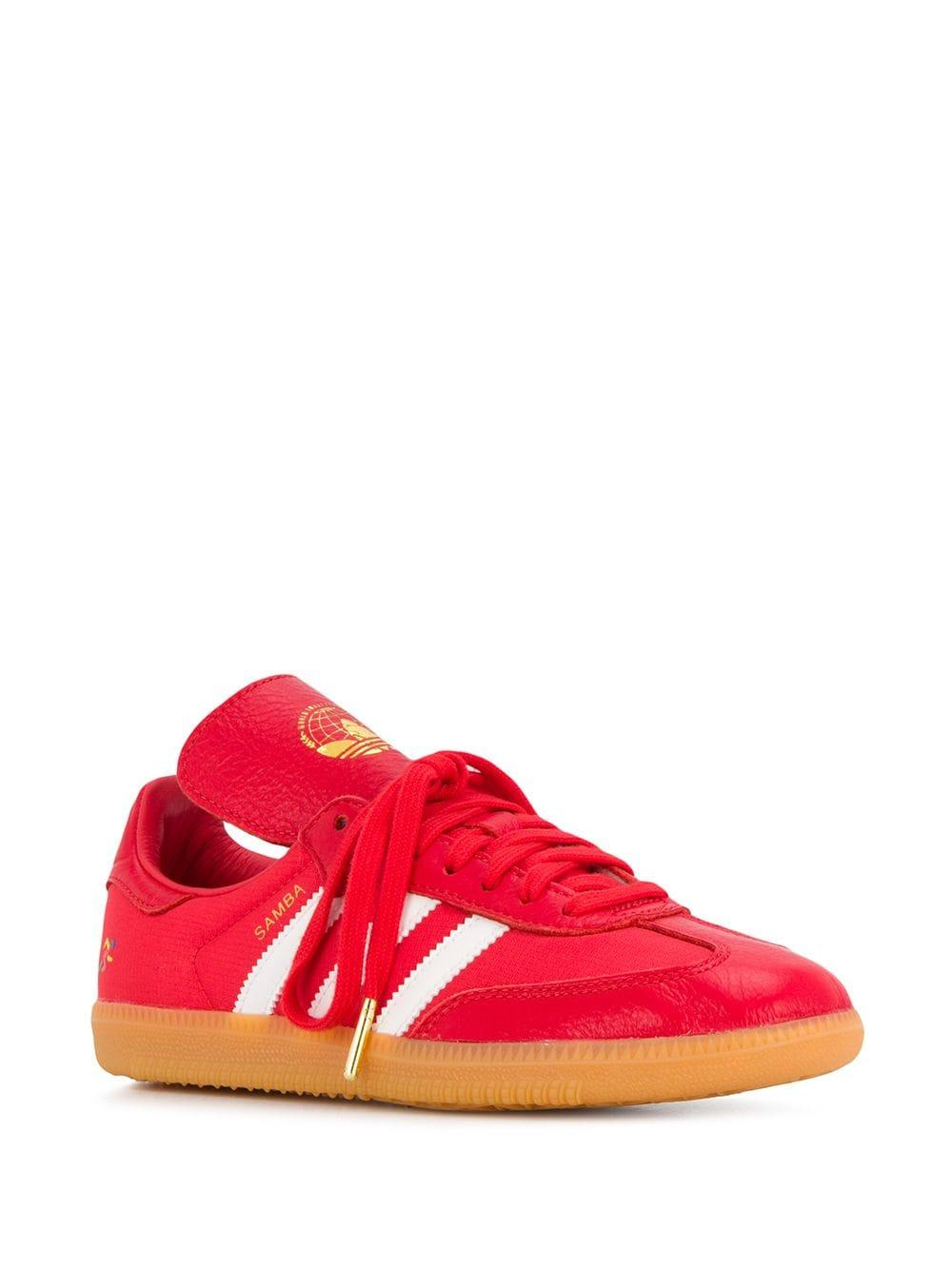 adidas Samba Leather Trainers in Red - Lyst