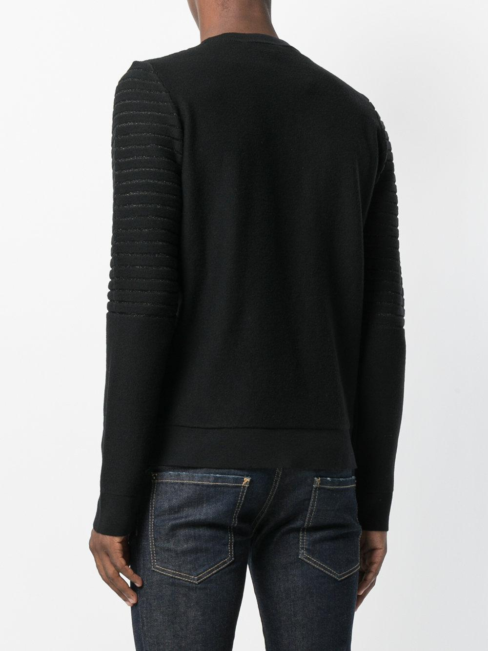 lyst philipp plein ribbed sweater in black for men. Black Bedroom Furniture Sets. Home Design Ideas