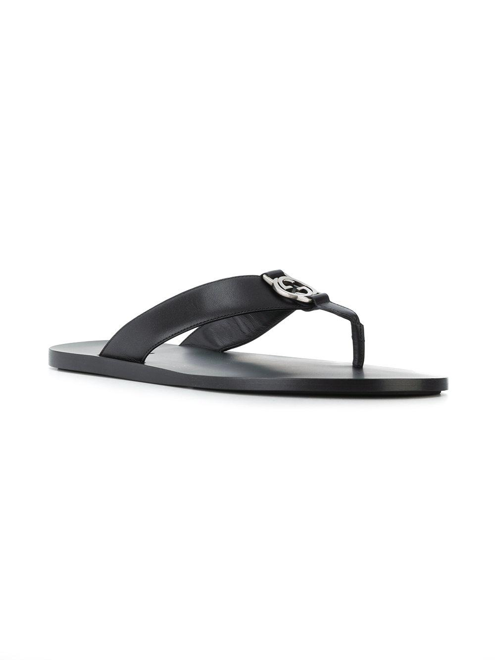 9300754642fc56 Gucci - Black Logo Plaque Thong Sandals for Men - Lyst. View fullscreen