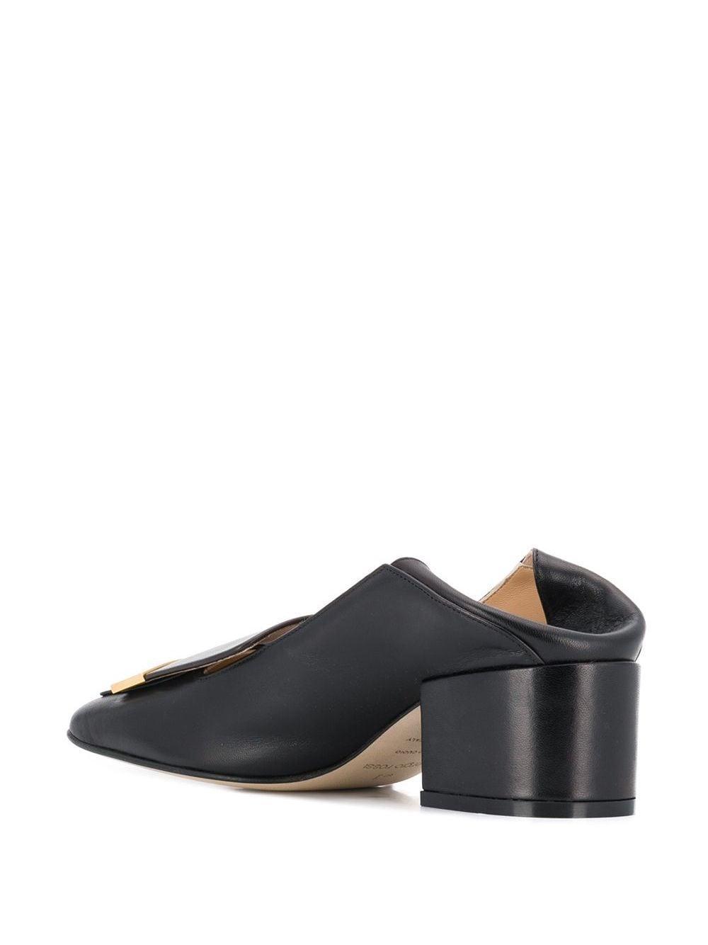 Zapatos de tacón con puntera cuadrada Sergio Rossi de Cuero de color Negro