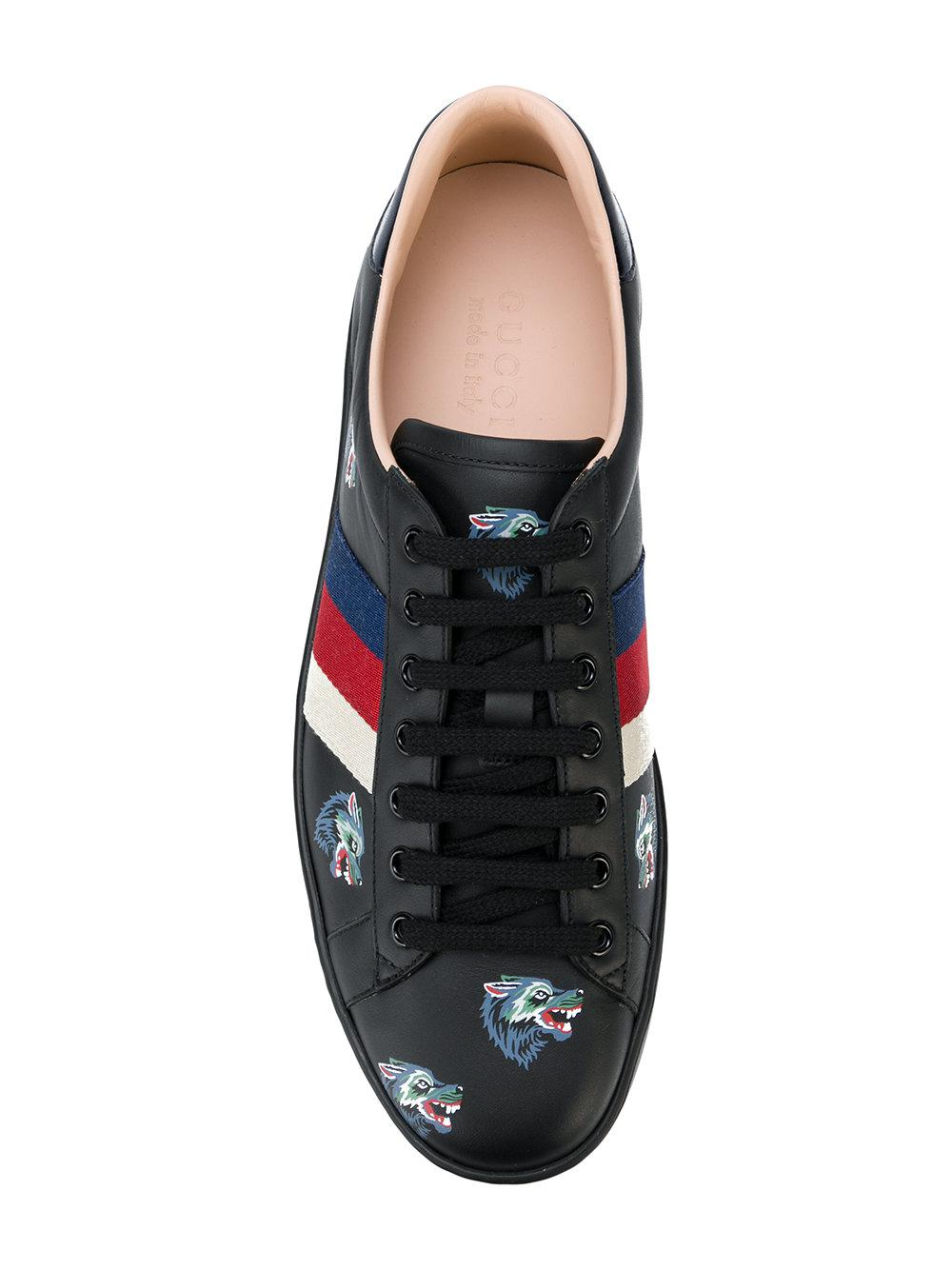 e66f18d7711 Lyst - Gucci Ace With Wolves Print Sneakers in Black for Men