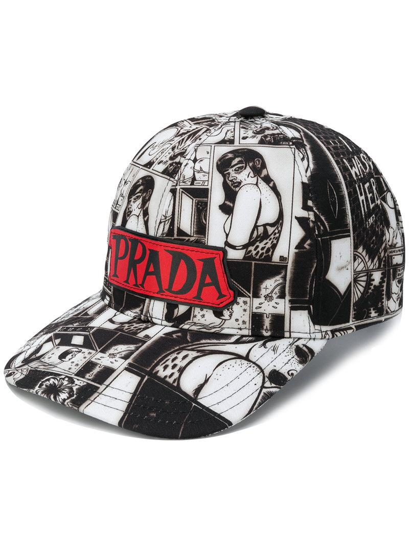 printed baseball cap - Black Prada NjuR1uFEa