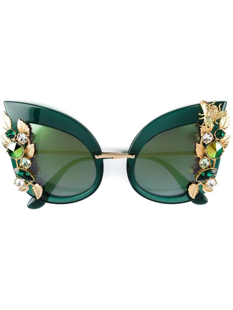 c0ac6eef54 Dolce   Gabbana Embellished Cat Eye Sunglasses in Green - Lyst