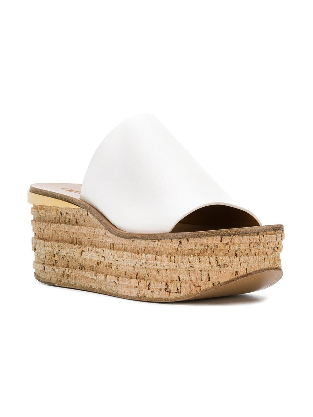 714c960454d5 Lyst - Chloé Camille Wedge Mules in White - Save 58%