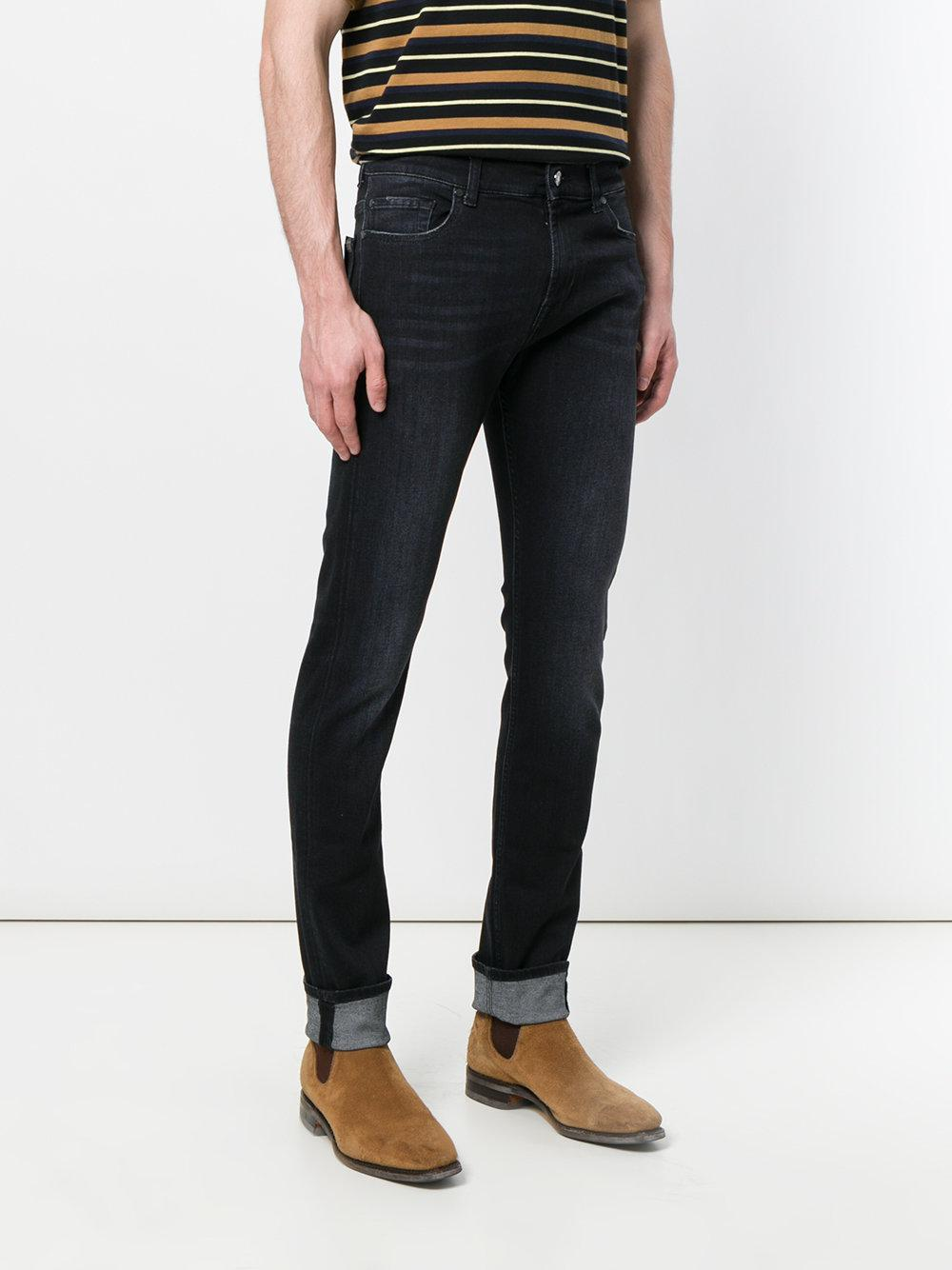 7 For All Mankind Denim Slim Fit Jeans in Black for Men