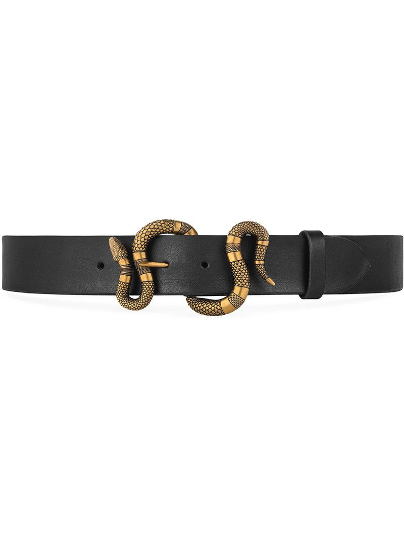 3ff68b2eca Gucci - Black Leather Belt With Snake Buckle for Men - Lyst. View fullscreen