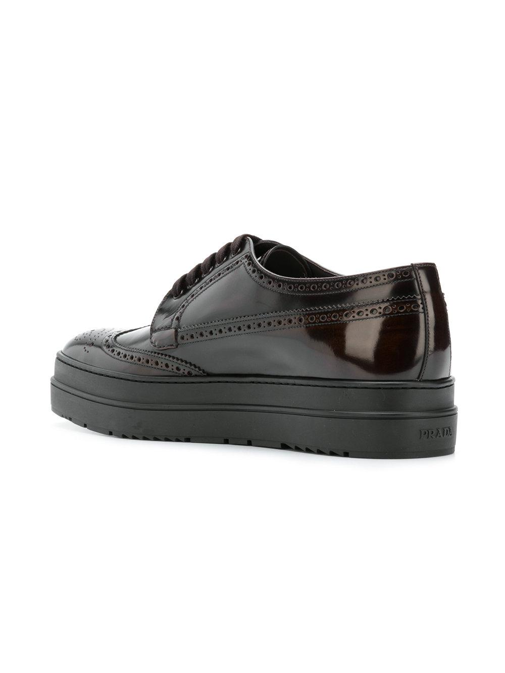 Prada Leather Platform Lace-up Shoes in Brown for Men