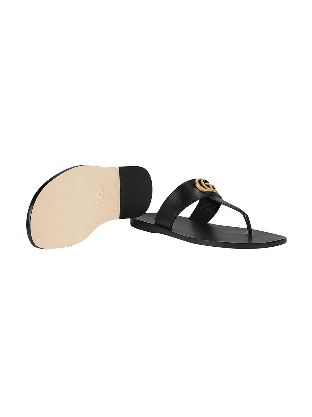 leather thong sandal with double g price