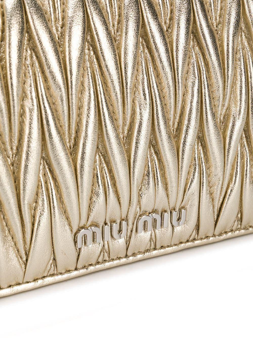 Miu Miu Leather Matelassé Cross-body Bag in Metallic