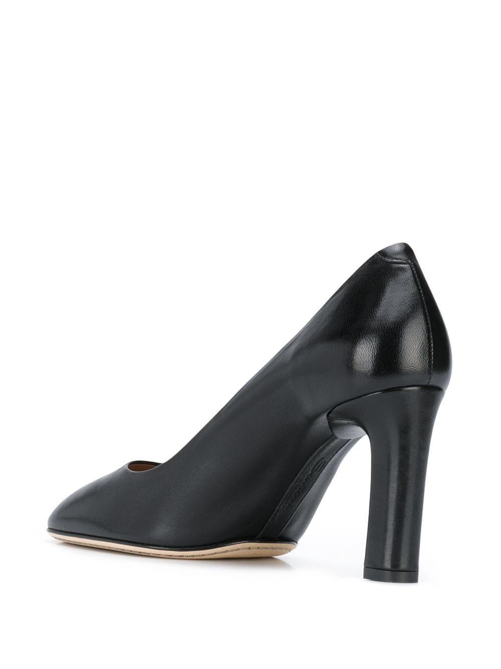 Zapatos de tacón pulidos con puntera cuadrada Santoni de Cuero de color Negro