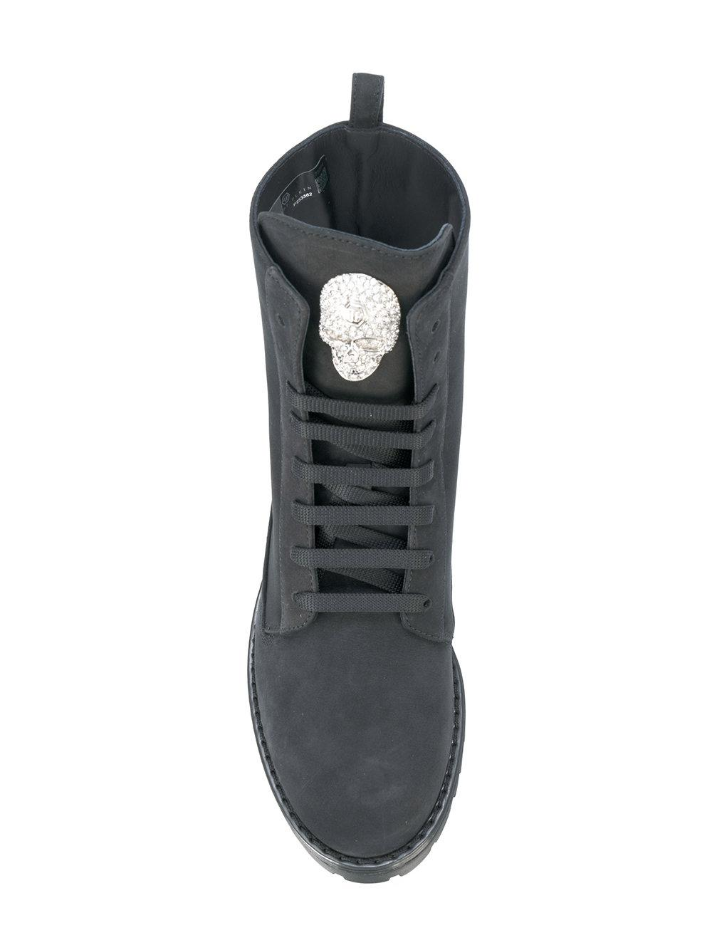 Philipp Plein Leather Dary Boots in Black
