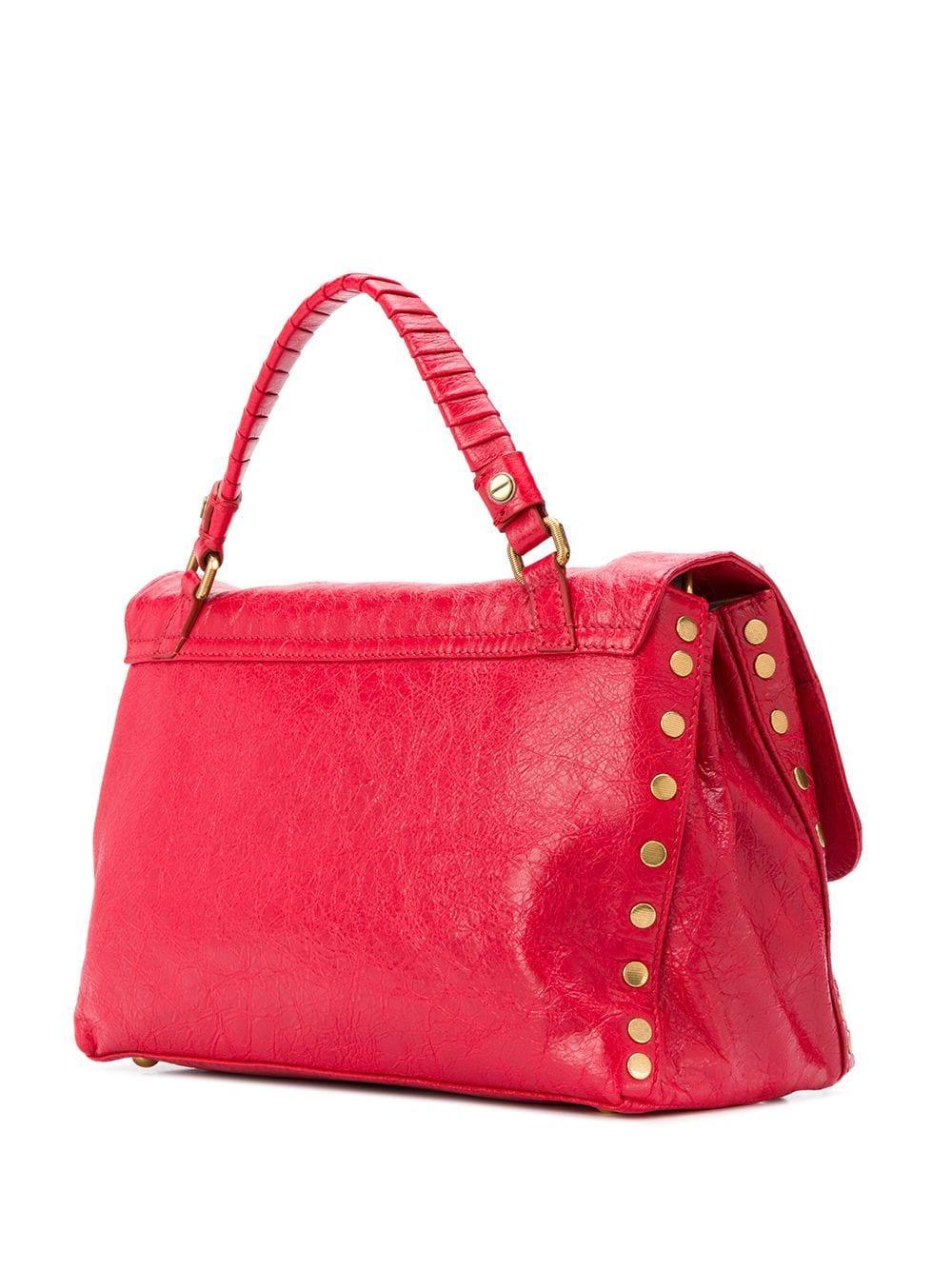 Zanellato Leder Texturierte Handtasche in Rot 3nAmc