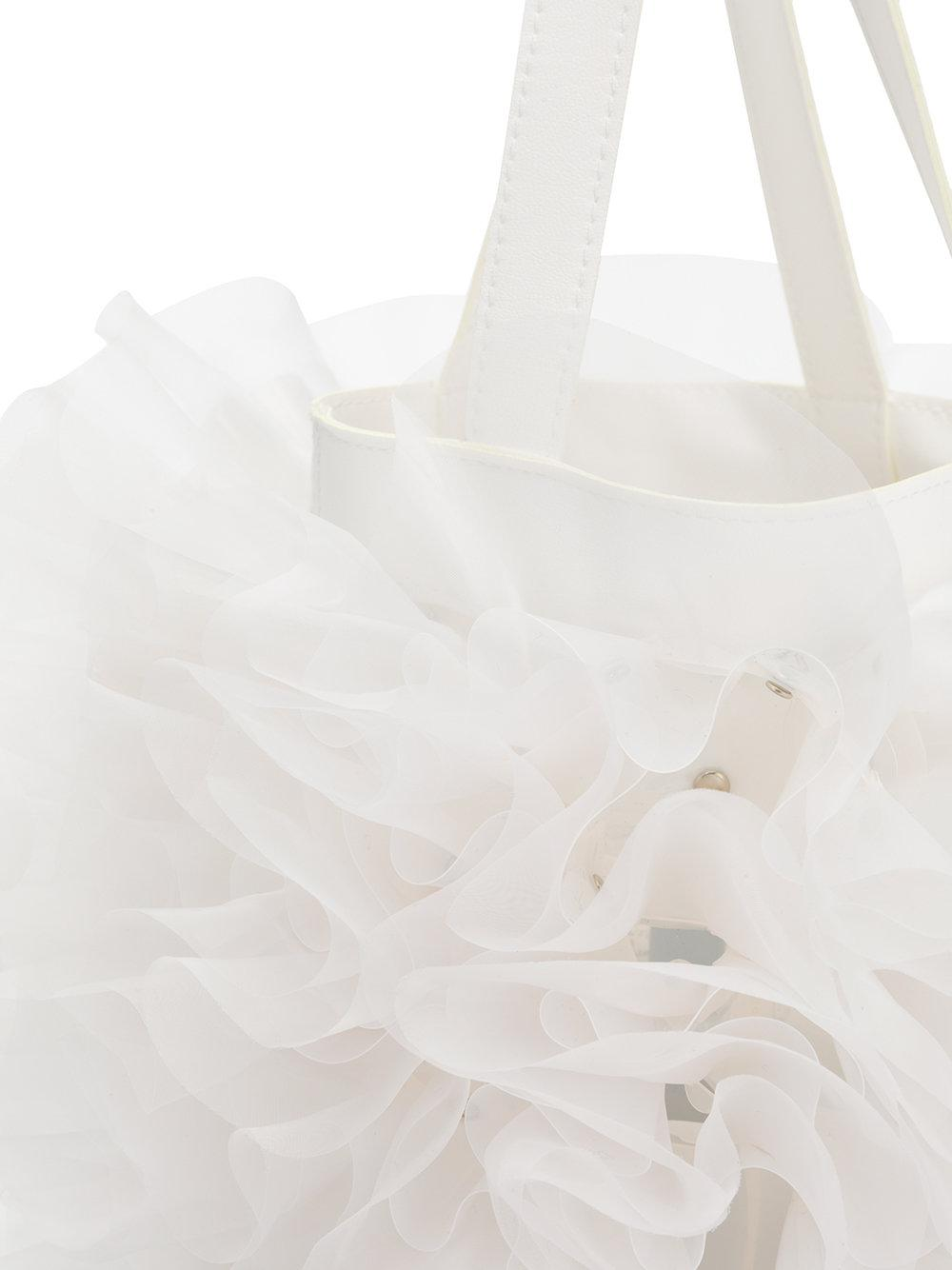 Comme des Garçons Leather Ruched Tote in White