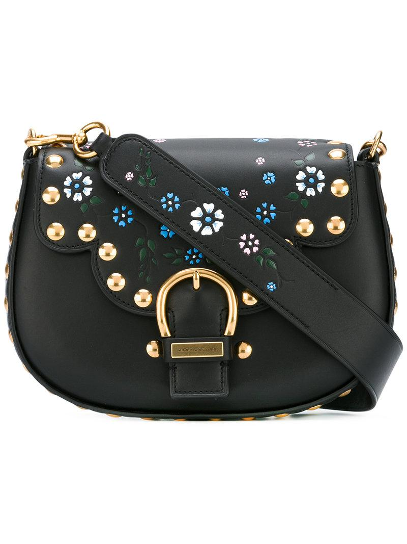 Marc Jacobs Leather Studded Navigator Saddle Bag In Black