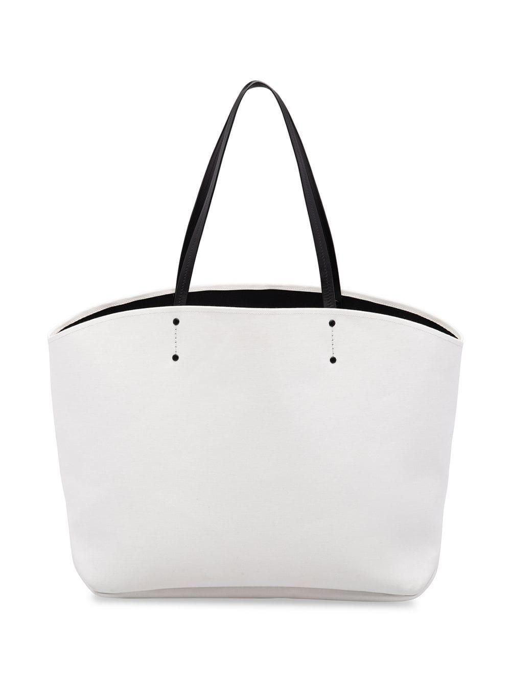 47fc034775c4 Prada Large Canvas Logo Tote in White - Lyst
