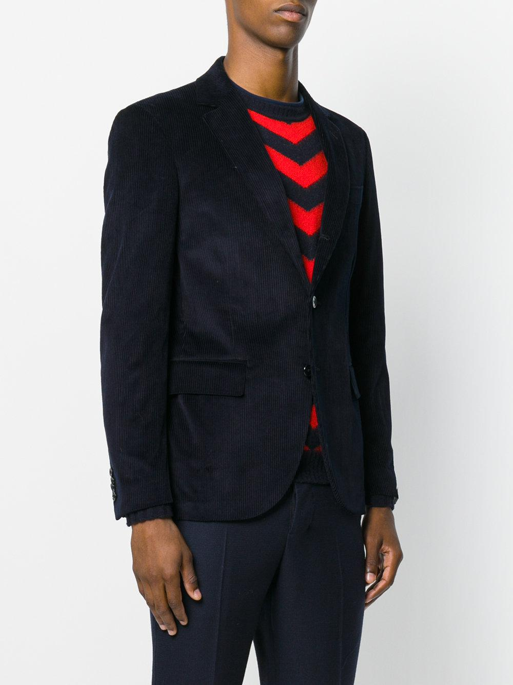Mp Massimo Piombo Corduroy Mono Breasted Jacket in Blue for Men