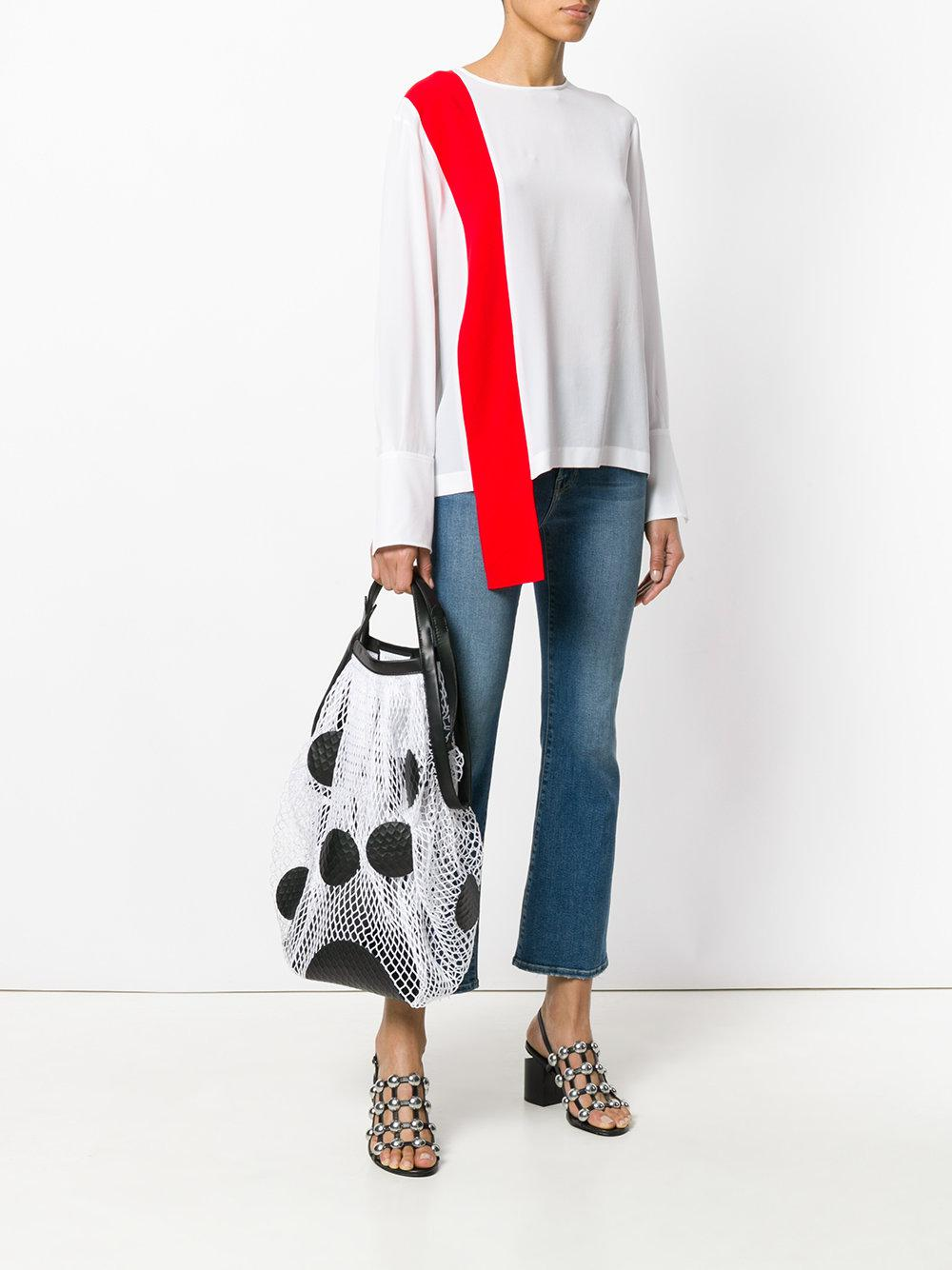 Maison Margiela Leather Polka Dotted Mesh Tote Bag in White