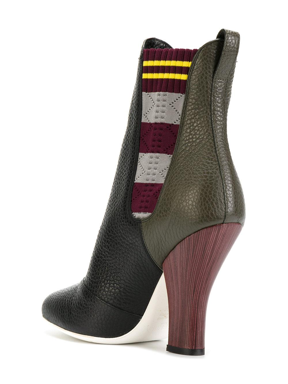 Fendi Cotton Colour-block Boots in Black