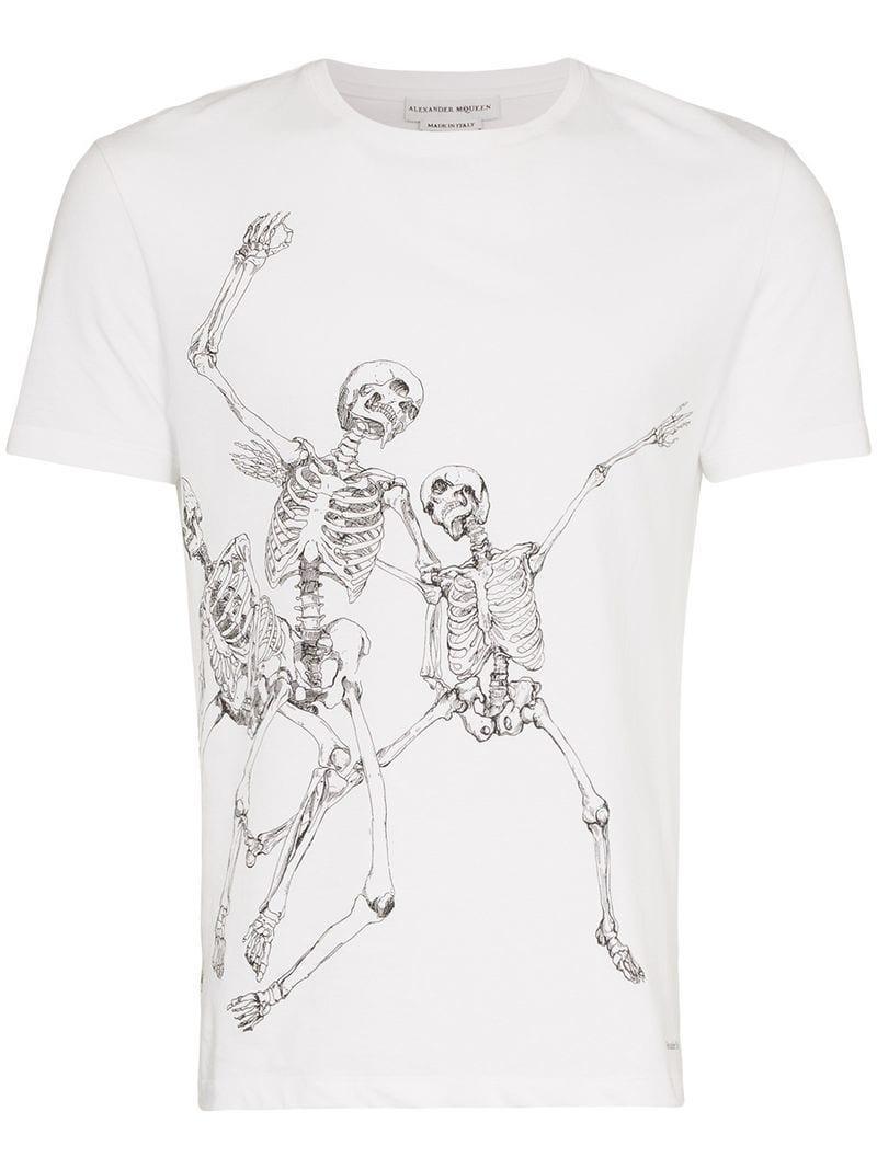 d73bd5a0 Alexander McQueen Skeleton Graphic Print T-shirt in White for Men - Lyst