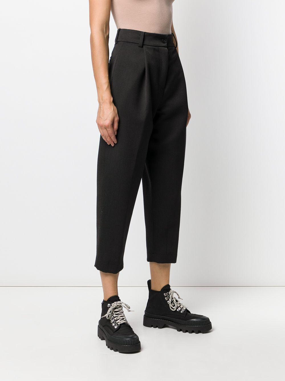 Pantalones tapered capri Danielapi de Lana de color Negro