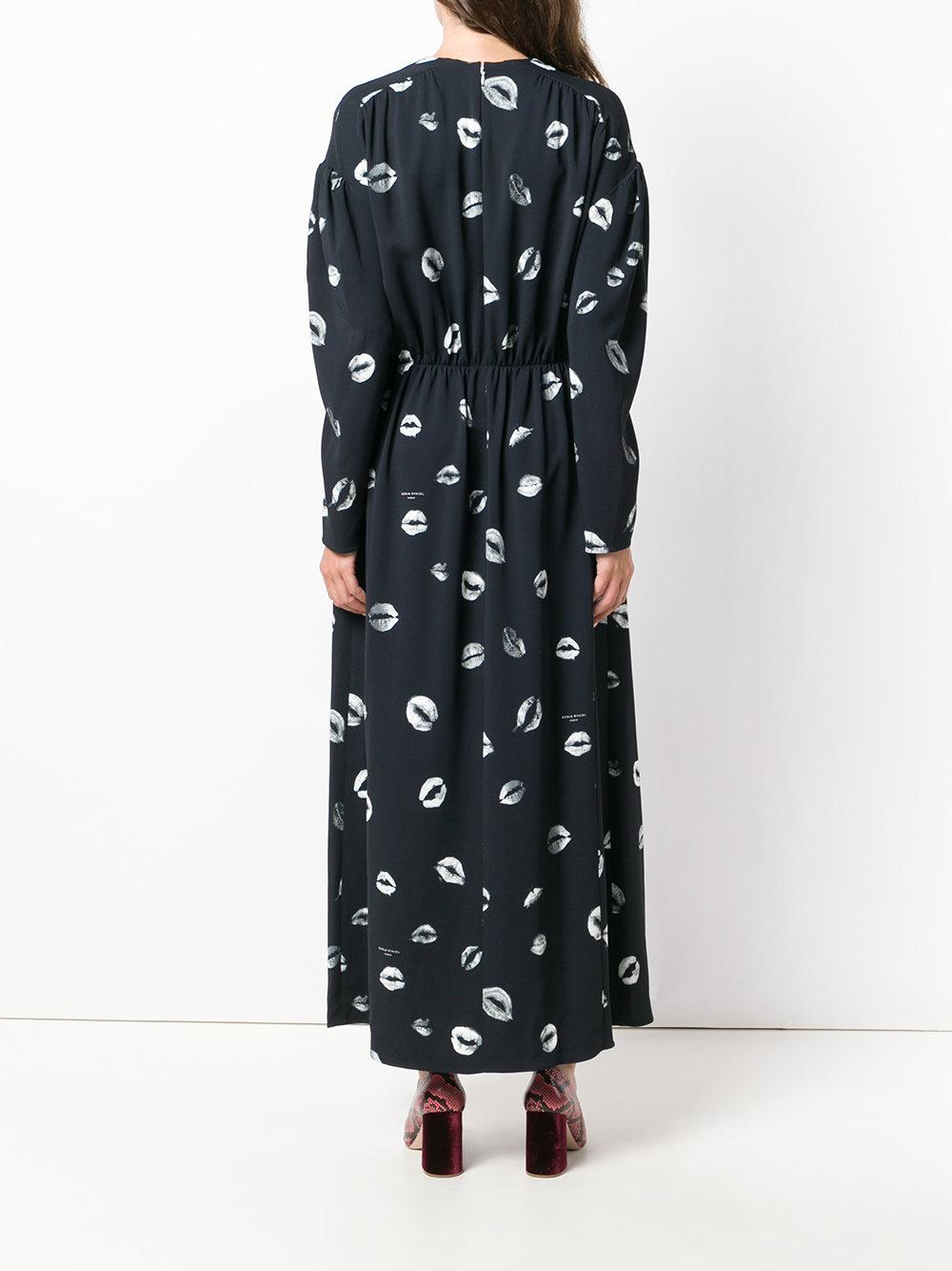 Sonia Rykiel Synthetic Lip Print Maxi Dress in Black White (Black)